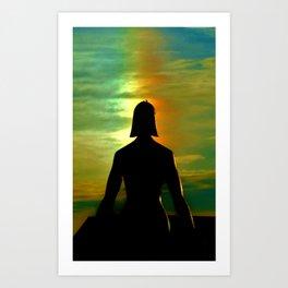 Male Female Statue with Rainbow Art Print