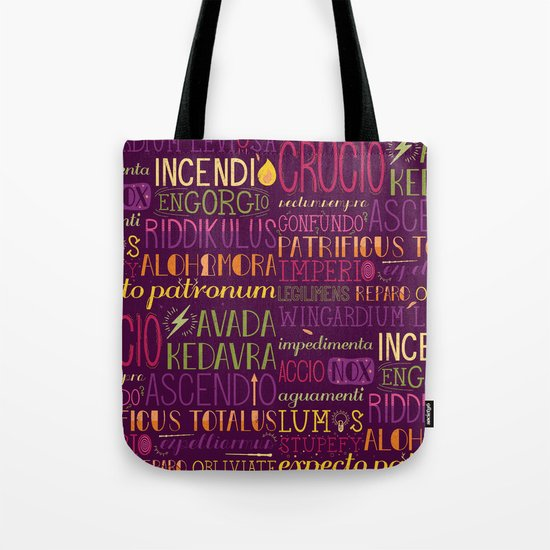 All your favorite spells in one place. This Tote bag of spells is perfect to carry your Hogwarts textbooks in.