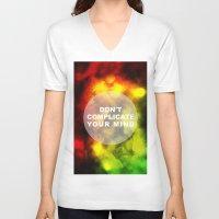 reggae V-neck T-shirts featuring Reggae Galaxy by Pancho the Macho