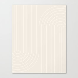 Minimal Line Curvature - Subtle White Canvas Print