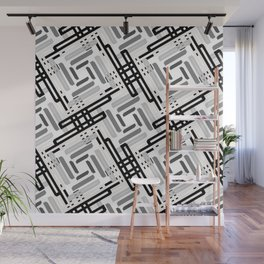 Seamless Geometric Black and White Abstract Pattern Wall Mural