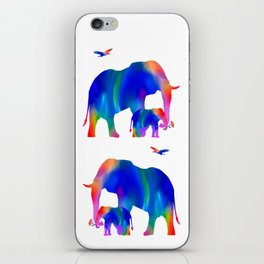 Elephant mom and baby iPhone Skin