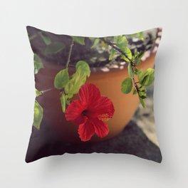 Red little flower VII Throw Pillow