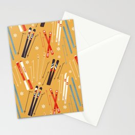 Bright Retro Skii Pattern Stationery Cards