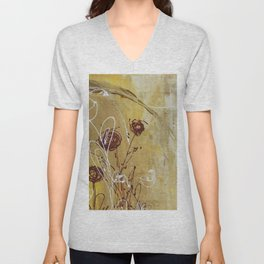 Yellow Tan Spring Abstract Flowers. Jodilynpaintings. Abstract Floral Unisex V-Neck
