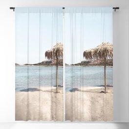 The Lone Umbrella Photo | Elafonissi Beach Crete Island Art Print | Greece Europe Travel Photography Blackout Curtain