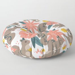 Squirrels & Blooms – Coral & Teal Floor Pillow