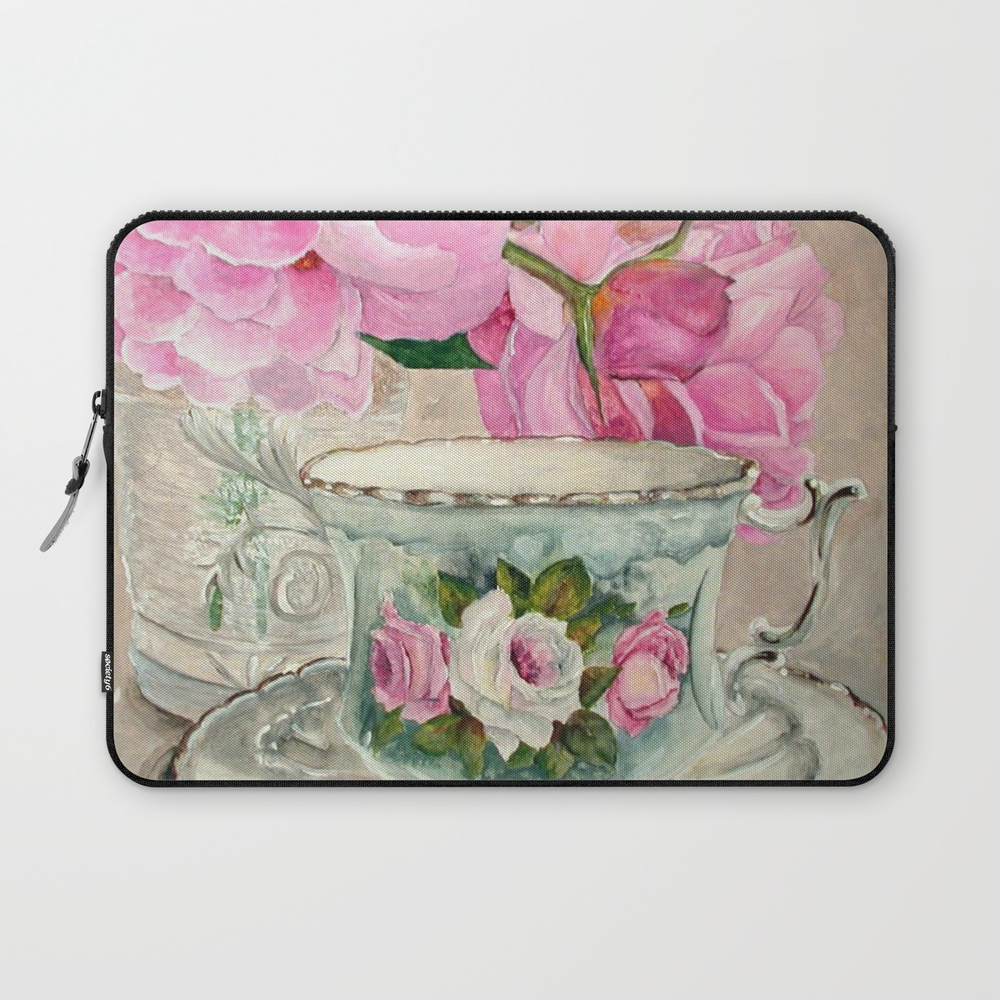 Hand Painted China Tea Cup And Roses Laptop Sleeve LSV9065748