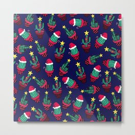 Cute Navy Decorated Cactus Tree Christmas Lights Metal Print