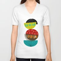 mid century V-neck T-shirts featuring Mid-Century Modern Abstract Half Moons by Kippygirl