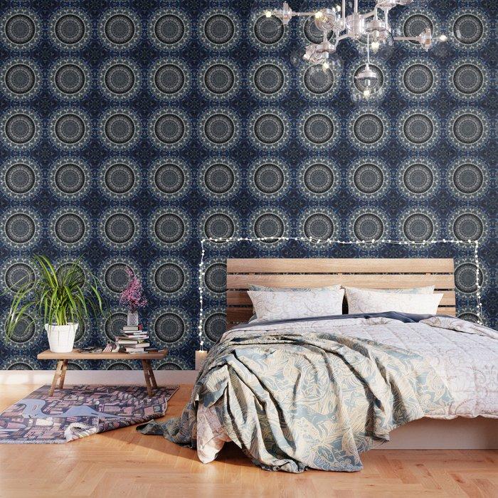 Dark Blue Grey Mandala Design Wallpaper By Artaddiction45