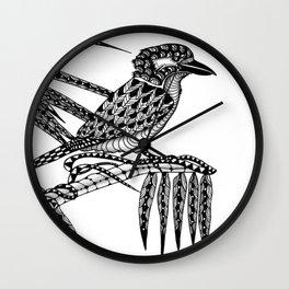 Tangled Kookaburra on White Wall Clock