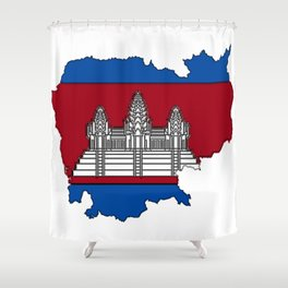 Cambodia Map with Cambodian Flag Shower Curtain