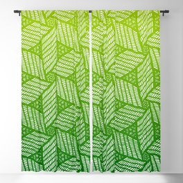 Japanese style wood carving pattern in green Blackout Curtain