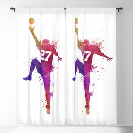 american football player man catching receiving silhouette Blackout Curtain