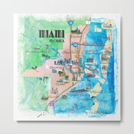 Miami Florida Fine Art Print Retro Vintage Map with Touristic Highlights Metal Print