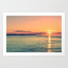 Pastel Sunset Calm Blue Water Art Print