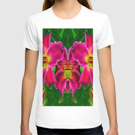 CERISE PINK LILY FLOWERS GREEN ABSTRACT T-shirt