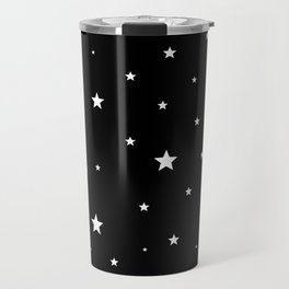 Scattered Stars - white on black Travel Mug