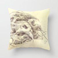 bones Throw Pillows featuring Bones by Vilebedeva