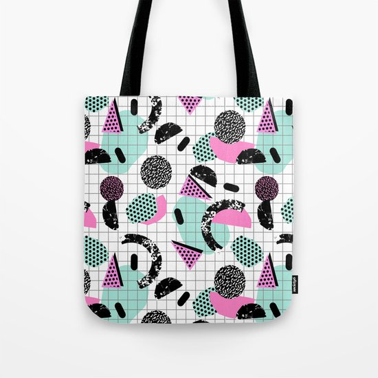 Joshin - memphis throwback retro pop art geoemetric pattern print unique trendy gifts dorm college Tote Bag
