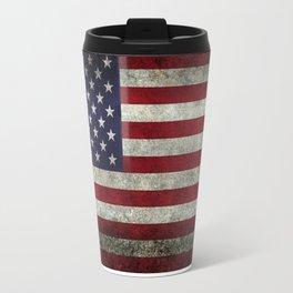 American Flag, Old Glory in dark worn grunge Travel Mug
