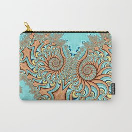 Owl Fractal Turquoise and Orange Carry-All Pouch