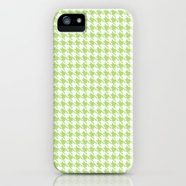 PreppyPatterns™ - Modern Houndstooth -  pistachio green and white iPhone Case