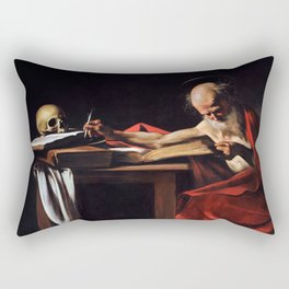 Saint Jerome Writing by Caravaggio (1606) Rectangular Pillow