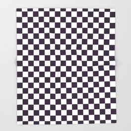 Small Checkered - White and Dark Purple Throw Blanket