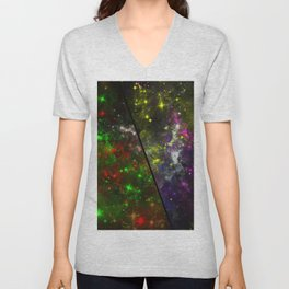 Parallel Universe - Split 'space' artwork showing 2 opposing galaxies Unisex V-Neck