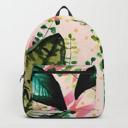 Abstract nature watercolor and gold Backpack