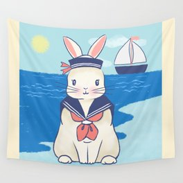 Sailor Bunny At The Beach Wall Tapestry