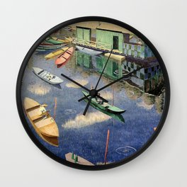 The Romantic Beauty of a Paris Summer on the River Seine landscape painting by Norman Lloyd Wall Clock