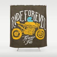 grease Shower Curtains featuring forever by The Junkers