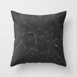 Silver Berlin City Map Throw Pillow