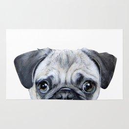 pug Dog illustration original painting print Rug