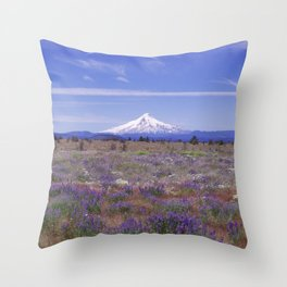 Mt Hood Oregon in Wildflowers Throw Pillow