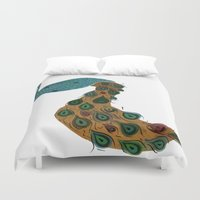 florence Duvet Covers featuring Florence the Peacock by Flight of Horace