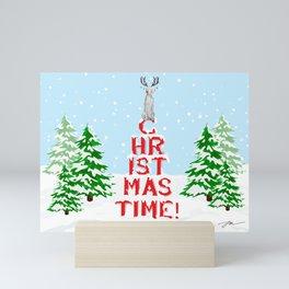 CHRISTMAS TIME WEIMARANER Mini Art Print