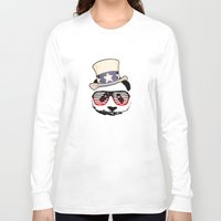 patriotic Long Sleeve T-shirts featuring Patriotic Panda by crayzeestuff