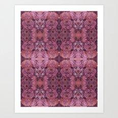 Dark florals-hippie, psychedelic, woodland, mandala, purple, red Art Print