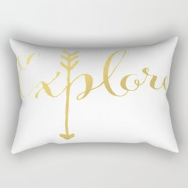 Gold Arrow Quote Explore Inspiration Classic Ink Typography Calligraphy Brushstroke Watercolor Boss Rectangular Pillow
