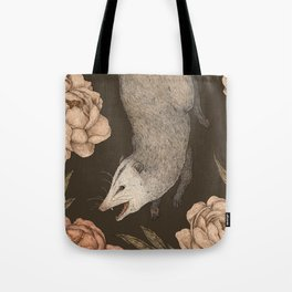 The Opossum and Peonies Tote Bag