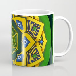 """Sacred geometry"" Green mandala by Ilse Quezada Coffee Mug"