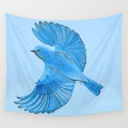Mountain Bluebird in Flight Wall Tapestry