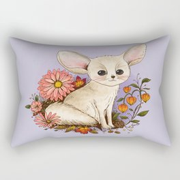 Fennec Fox with Chinese Lanterns Rectangular Pillow