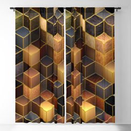 Cubes in Brown Blackout Curtain