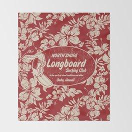 Club Surfing Longboard Surf Logo and Hibiscus Hawaiian Print      Throw Blanket
