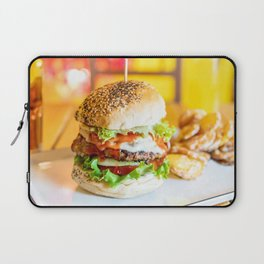 Enjoy Your Burger, Tasty Juicy American Beef Burger, Fast-Food Restaurant, Food Photography Laptop Sleeve